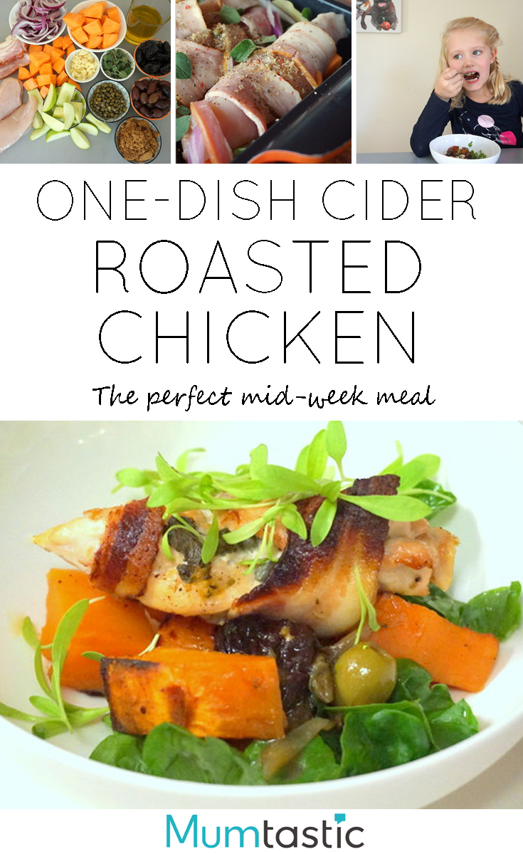 One Dish Cider Roasted Chicken - the perfect mid-week family meal