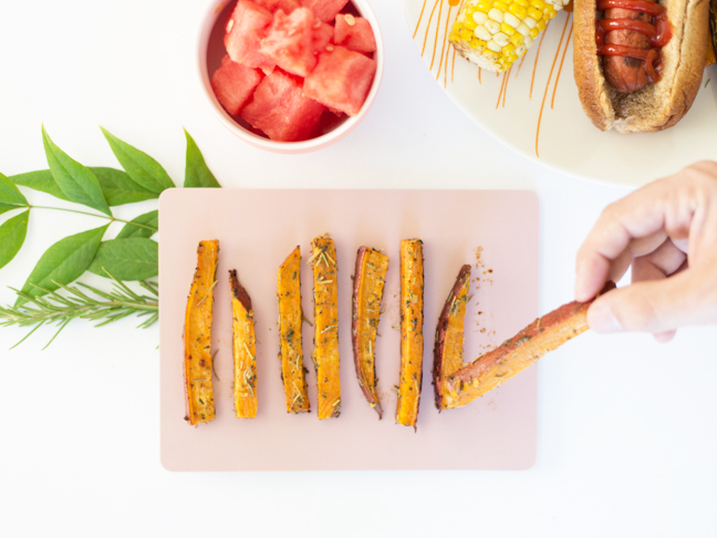 rosemary-ranch-sweet-potato-fries-watermelon-corn-hot-dog