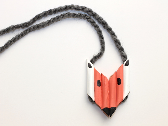 colorful fox pasta necklace with yarn