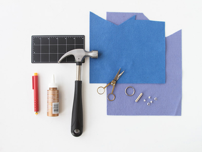 Supplies for Felt Geometric Keychain and Bag Tags