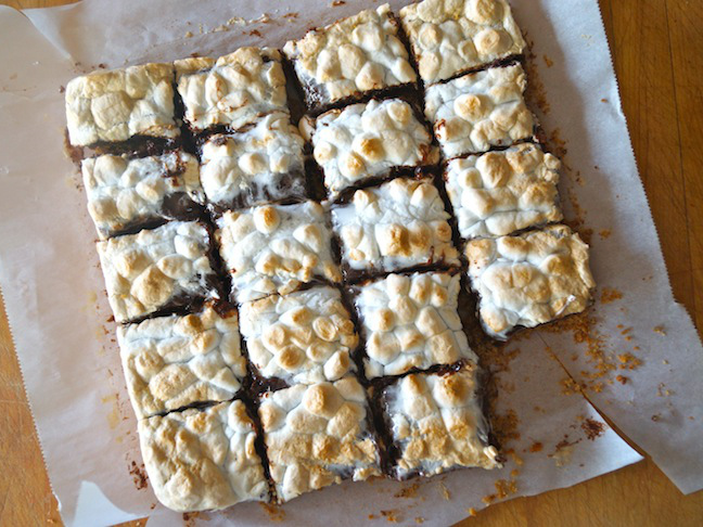 white parchment paper-toasted marshmallow bars-corner piece missing