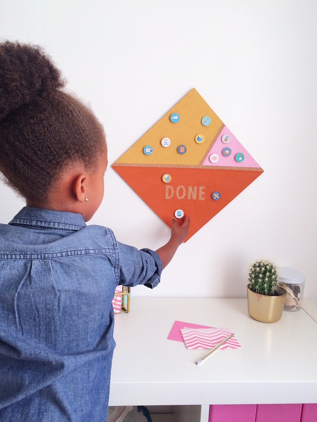 DIY Cork Board Chore Chart for Kids | Shauna Younge for Momtastic