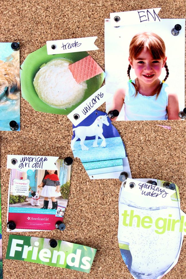 vision-board-corkboard-unicorn-photo-ice-cream-american-girl-doll-pushpins