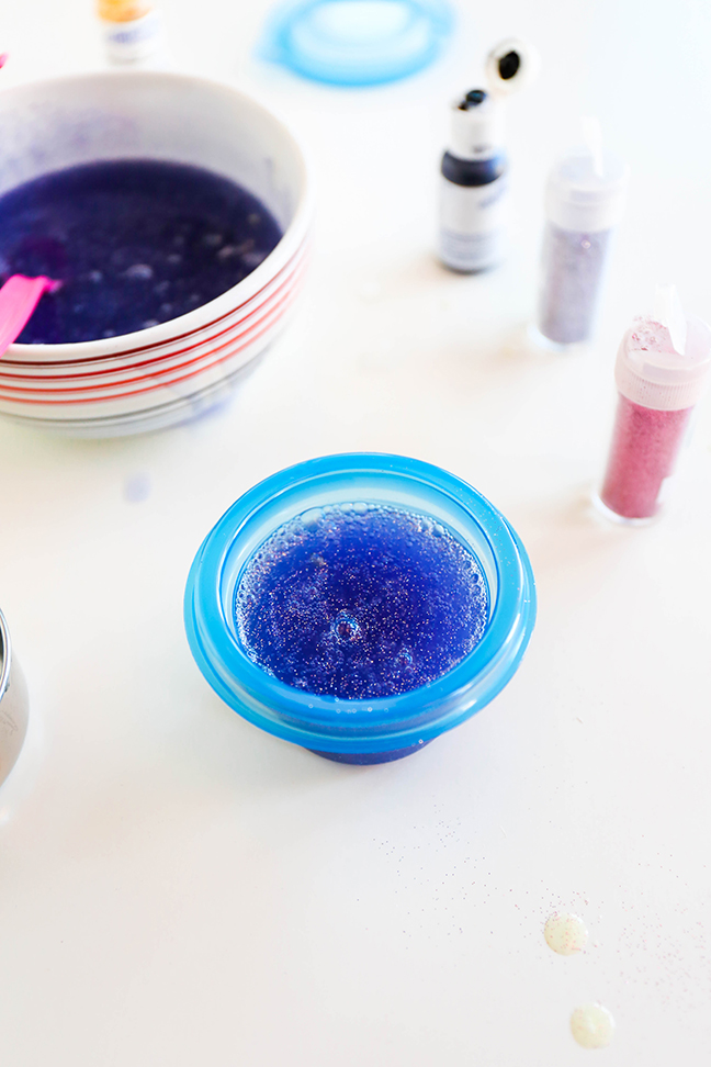 purple glitter soap in miniature tupperware containers