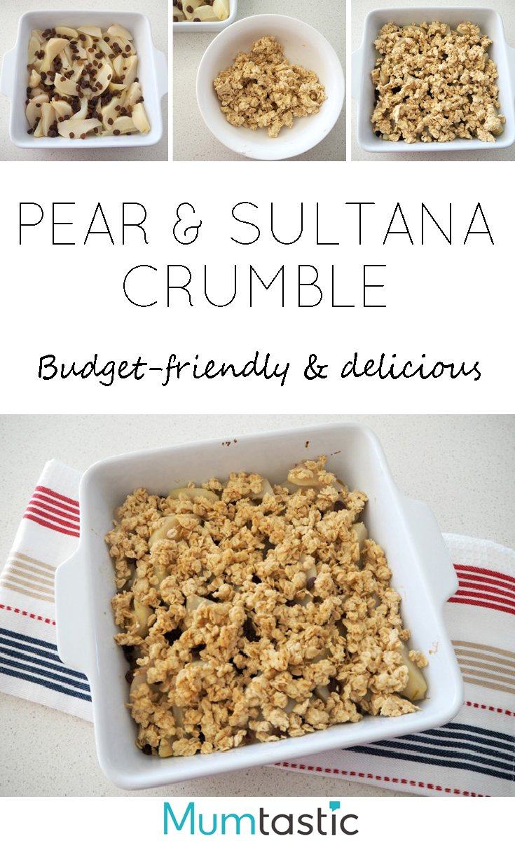 Pear and Sultana Crumble recipe - budget-friendly and delicious