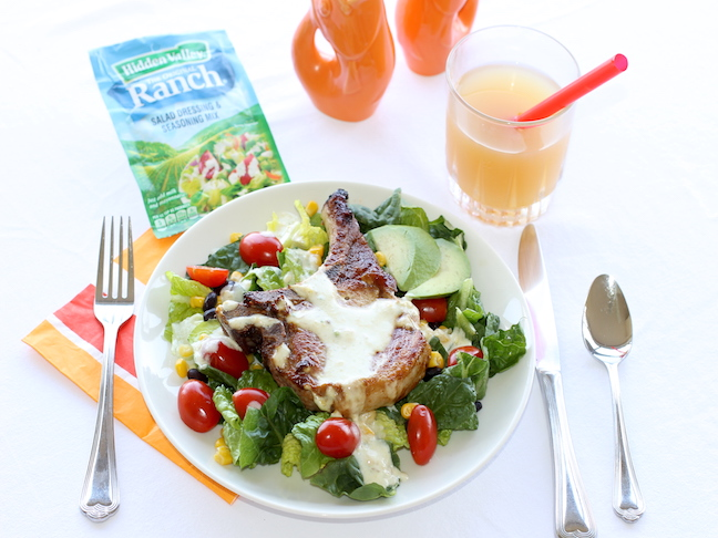 hidden valley ranch southwest salad with pork chop