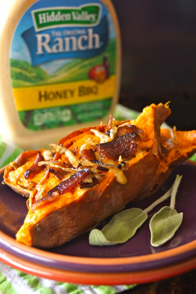 baked sweet potatoes with bacon and honey bbq ranch dressing