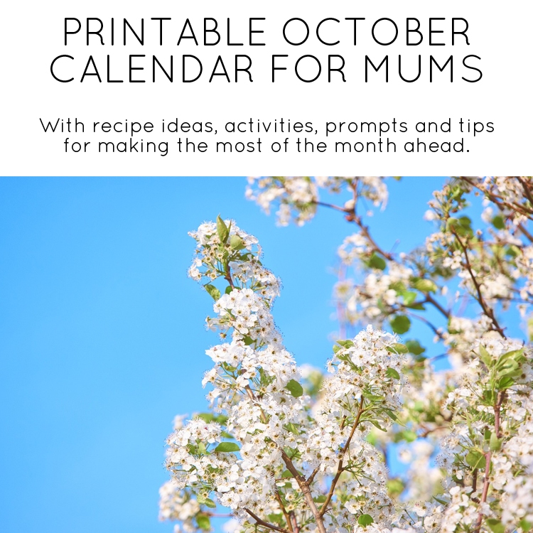 October printable calendar for mums - Mumtastic