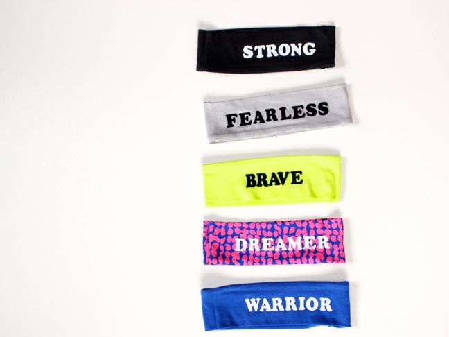 neon stretchy headbands with girl power words