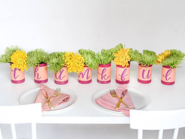 DIY Thanksgiving Centerpiece Idea Using Recycled Cans