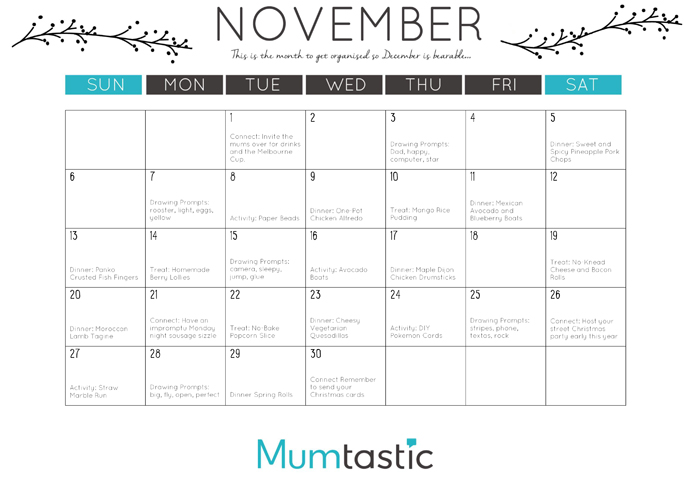 November 2016 Mumtastic Calendar for Mums