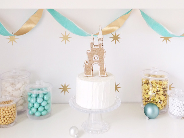 DIY Gingerbread Cinderella Castle Cake Topper