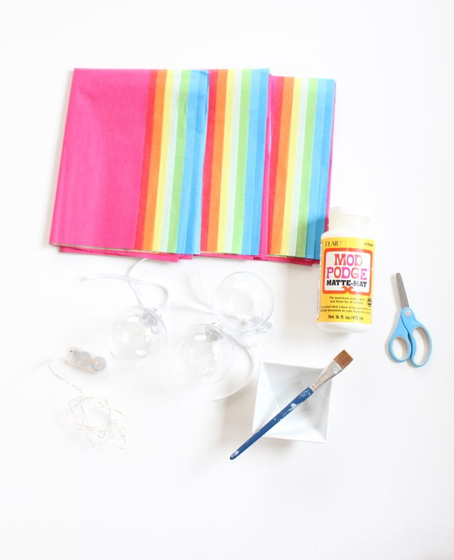colorful-tissue-paper-mod-podge-scissors-paintbrush