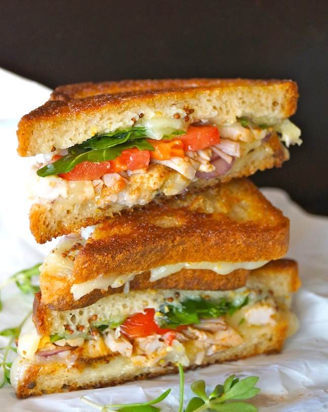 toast, grilled cheese sandwich, tomatoes, red and green