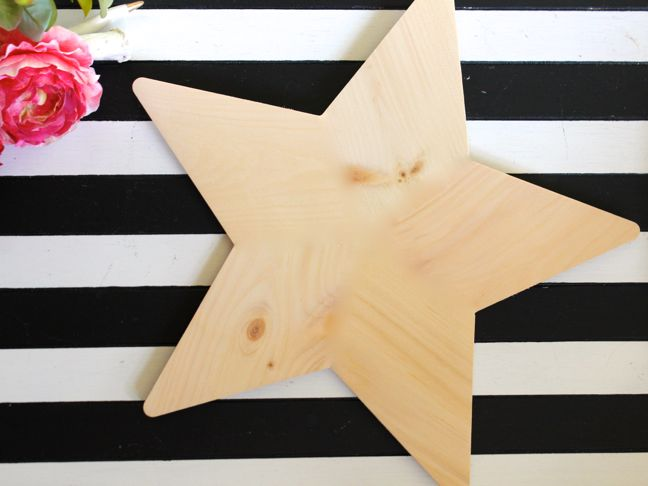 wood star black white stripes