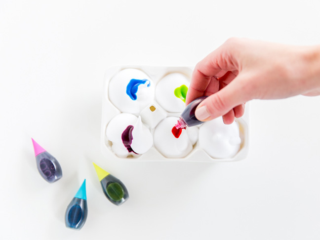 food coloring egg carton
