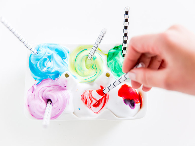straws food coloring shaving cream