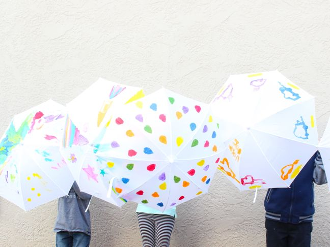 rainbow painted umbrellas