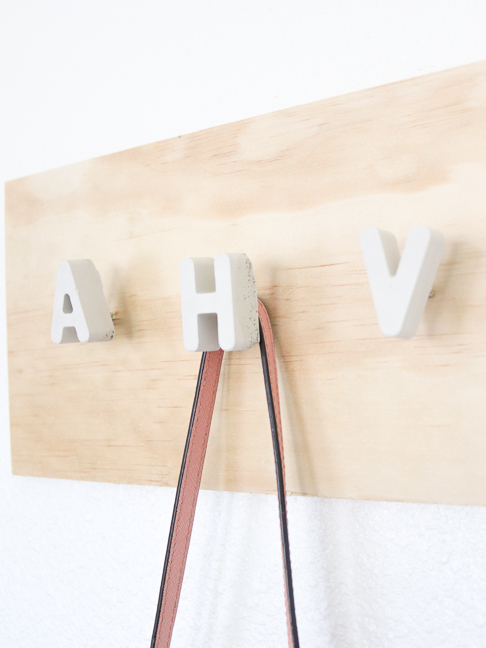 DIY Cement Alphabet Wall Hook Organizer