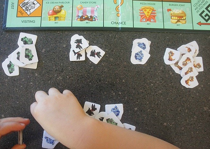 Sorting tokens for play with Monopoly Junior