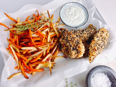 sesame-chicken-with-root-vegie-fries