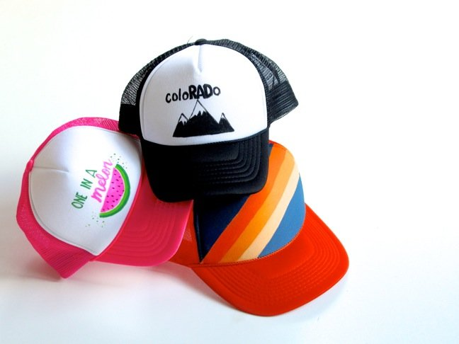 trucker-hats-with-colorful-paintings-watermelon-black-and-white