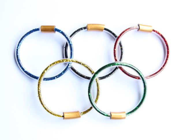 olympic rings diy glitter bracelets red yellow green