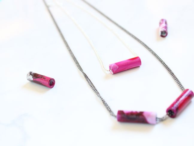 diy nail polish marbled tube necklace
