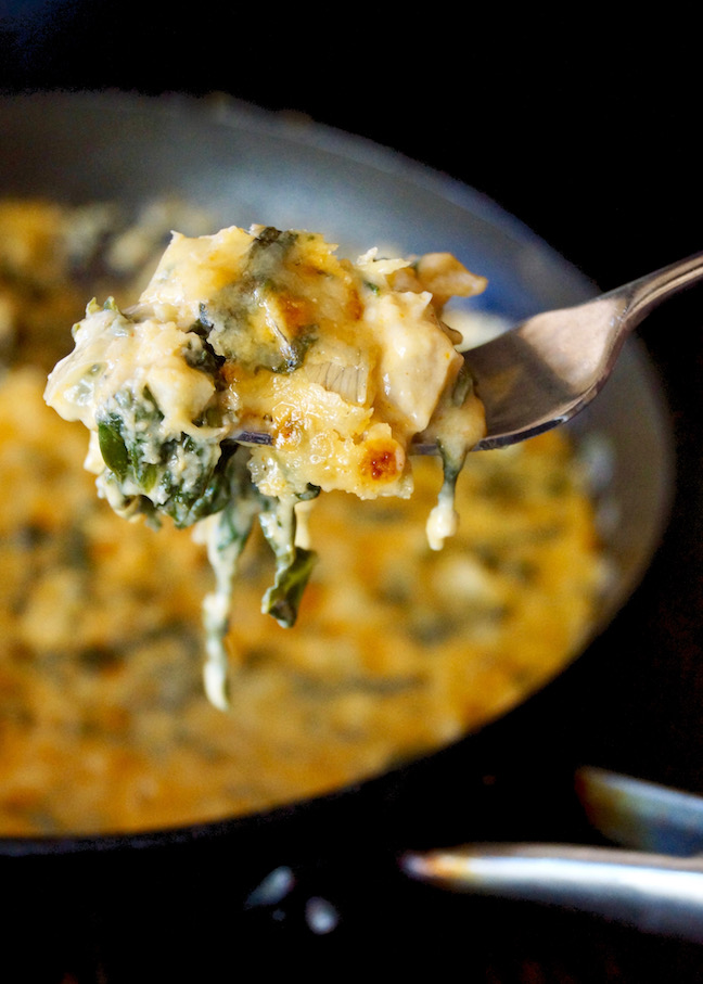 skillet-spinach cheese dip