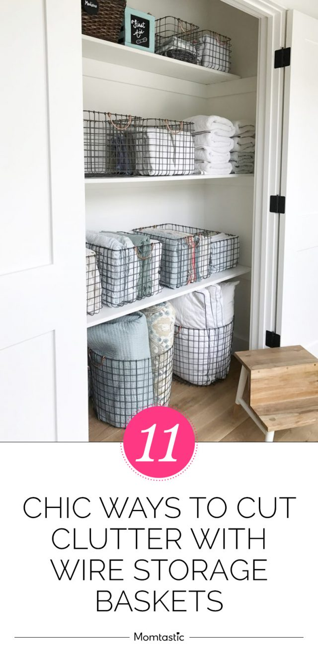 11 Chic Ways To Cut Clutter With Wire Storage Baskets