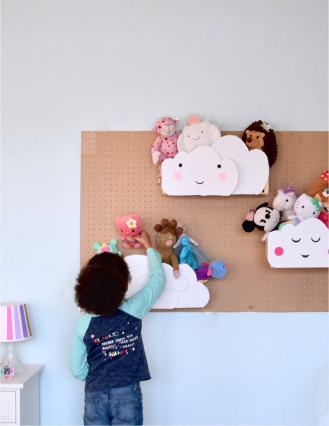 DIY Cloud Pallet Crate Stuffed Animal Storage