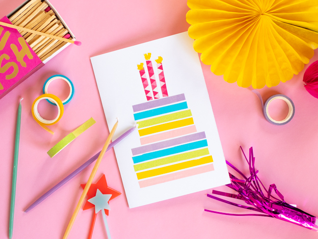 Enjoyable Make A Sweet Washi Tape Last Minute Birthday Card Funny Birthday Cards Online Inifofree Goldxyz