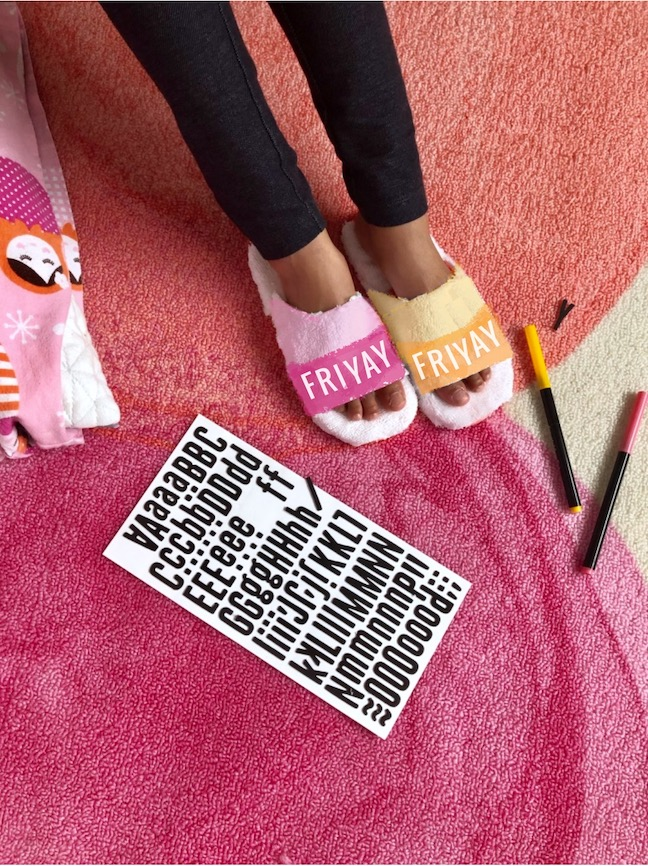 DIY Slogan Sleepover Slippers for Kids