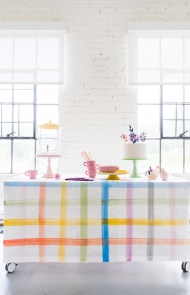 DIY Painted Plaid Tablecloth