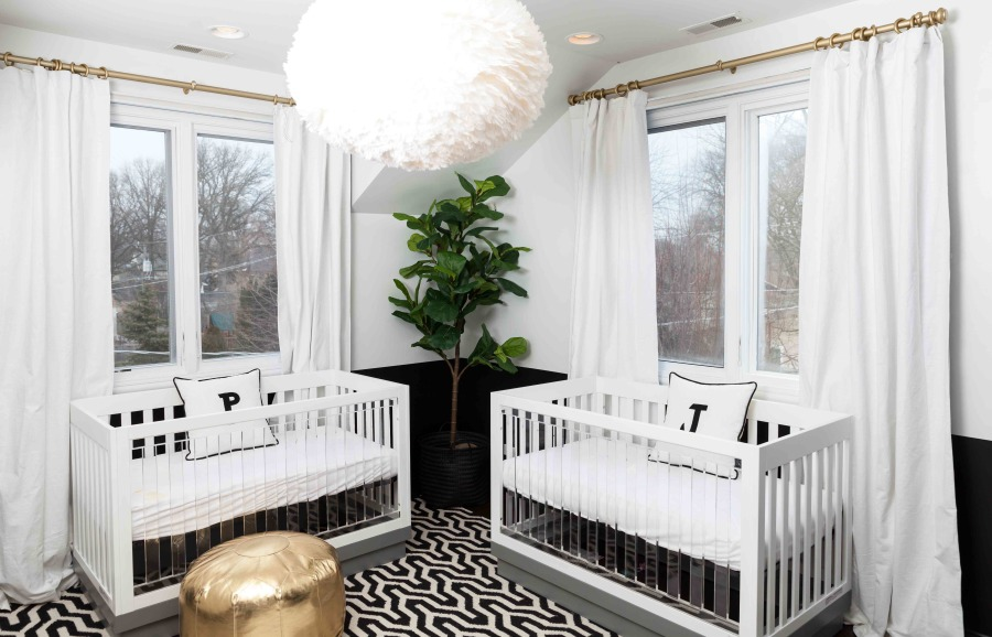 Modern, Graphic Nursery for Twins