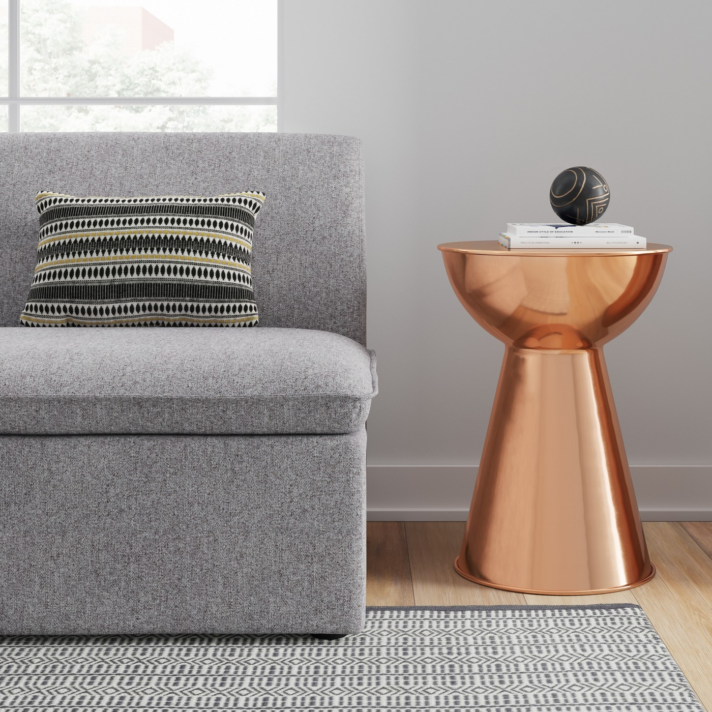Hourglass Copper End Table