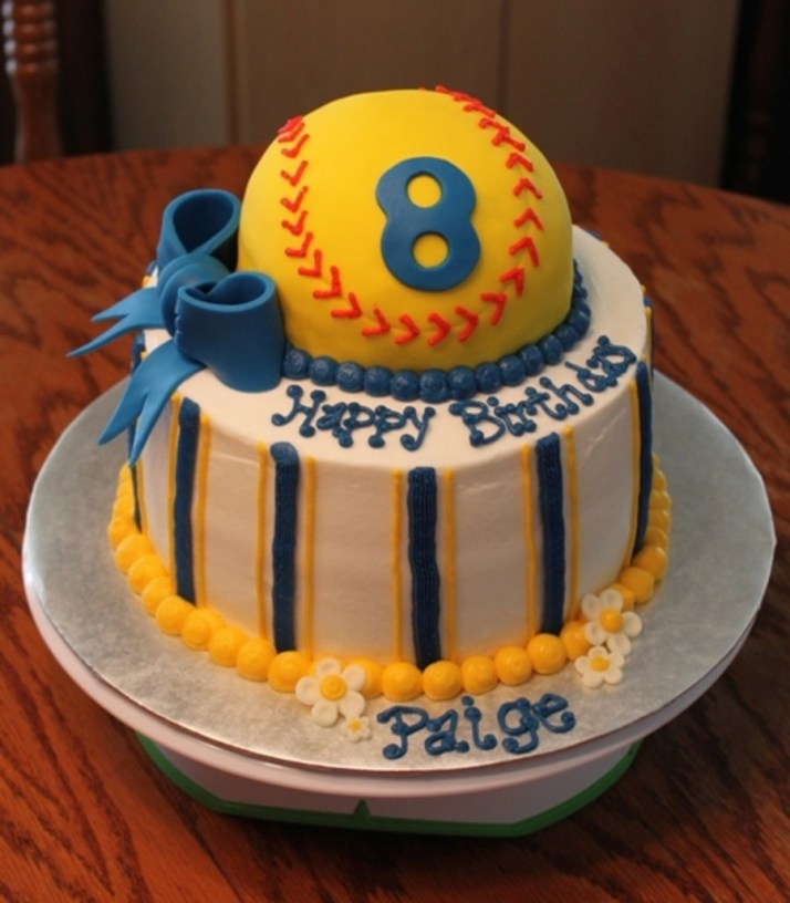 Sweet Softball Birthday Cake
