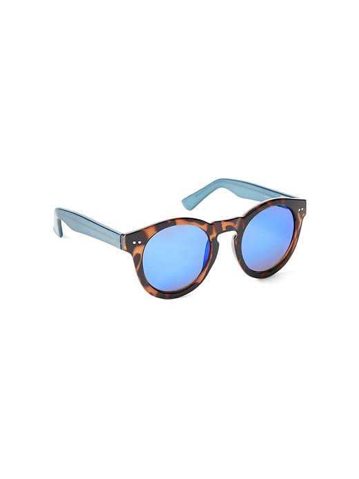 Blue Mirrored Round Frame Sunglasses