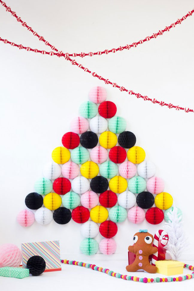 DIY Honeycomb Christmas Tree Wall Art
