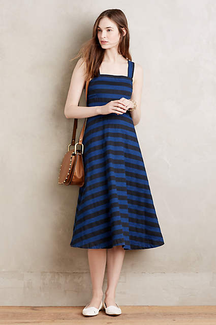 Striped Denim Midi Dress