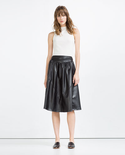 Leather Look Flounce Skirt