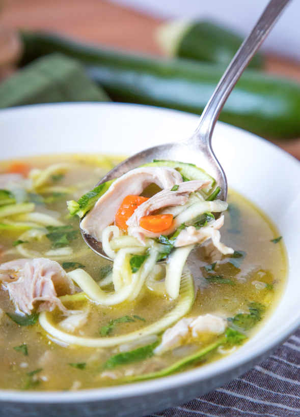 Spiralised Chicken Noodle Soup