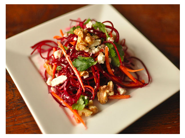 Spiralized Spring Beet & Carrot Salad with Honey Vinaigrette