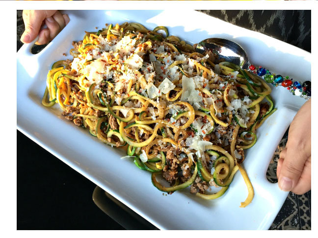 Ground Turkey Pesto Yellow Squash and Zucchini Noodles