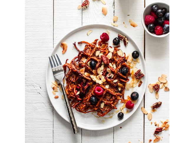 Blueberry Sweet Potato Waffles