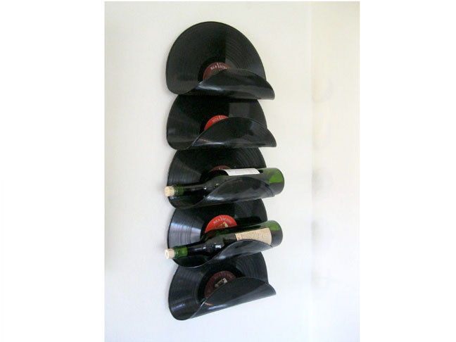 Upcycled Vinyl Record Wine Rack