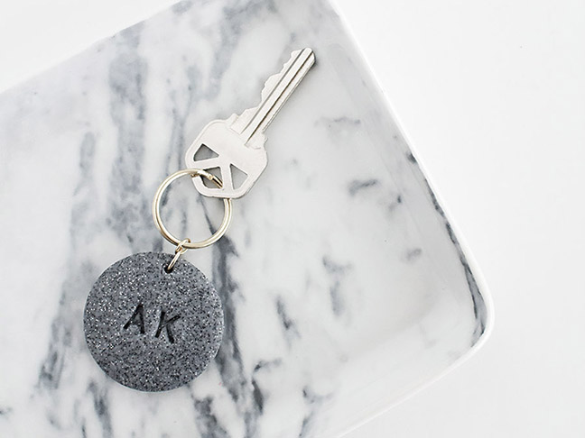 Monogram Stamped Clay Key Chain