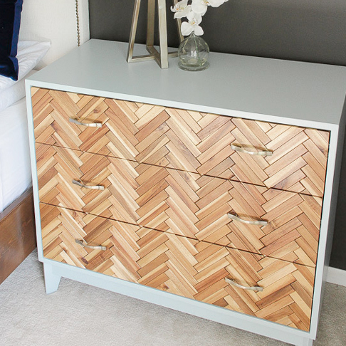 Herringbone Wood Tile Dresser from Pursuit of Handyness