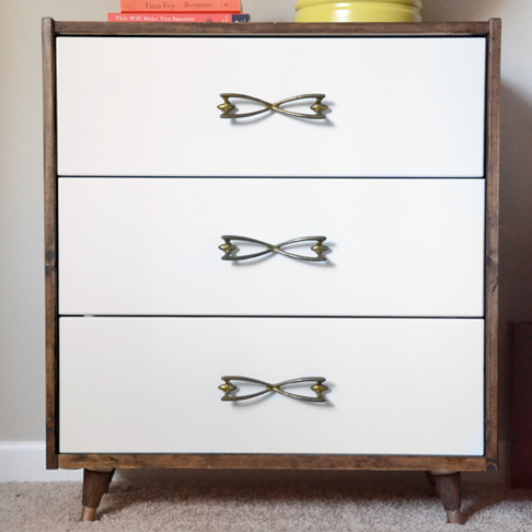 Mid-Century Dresser Upgrade with Vintage Hardware from Hearts and Sharts