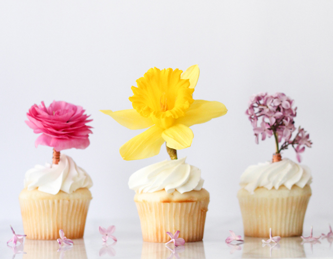 Fresh Flower Cupcake Toppers